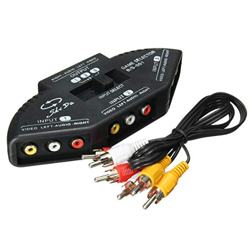 Jonathan-Shop - 3 Way Audio Video AV RCA Switch Box Composite Selector Splitter With FT Cables for All Standard AV Devices