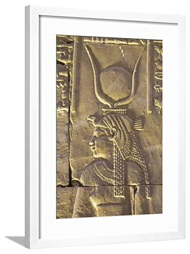 ArtEdge Relief Depicting The Goddess Hathor, Temple of Horus, Edfu, Egypt, North, Africa by Richard Maschmeyer, White Wall Art Framed Print, 24x16, Soft ()