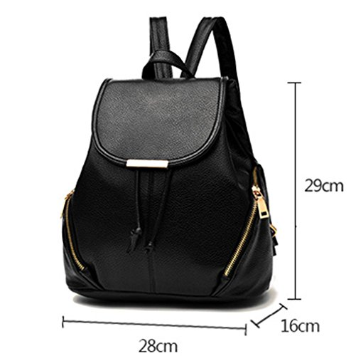 Rucksack Leather Black Schoolbag Shoulder Hynbase Cute Women Travel Backpack Bag xwpqqR14T