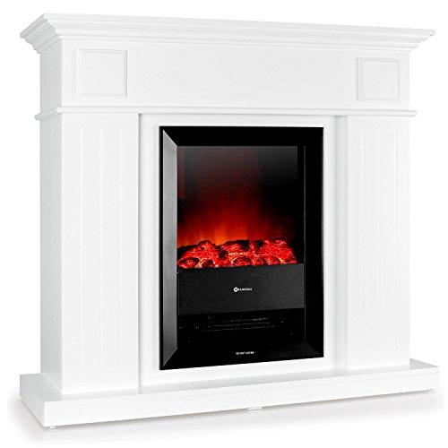 Klarstein Chamonix Elektrischer Kamin Retro Elektrokamin Nostalgie Kaminfeuer mit Heizlüfter (35cm schlanker Wandkamin, 2 Heizstufen - 2000W und 1000W, Flammen-Simulation) weiß