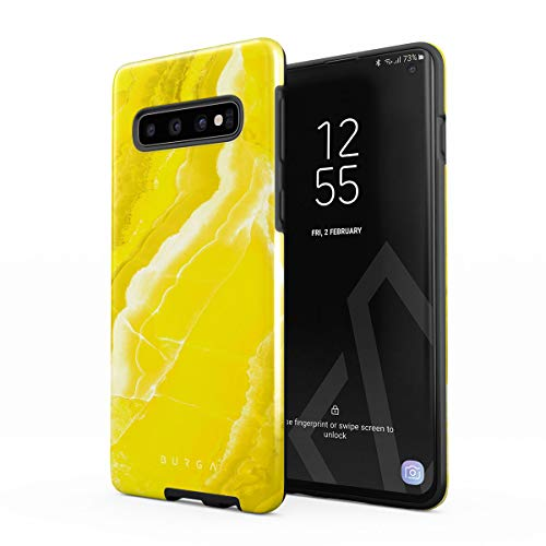 BURGA Phone Case Compatible with Samsung Galaxy S10 Neon Yellow Marble Citrus Stone Summer Vibes Cute for Girls Vivid Bright Heavy Duty Shockproof Dual Layer Hard Shell + Silicone Protective Cover