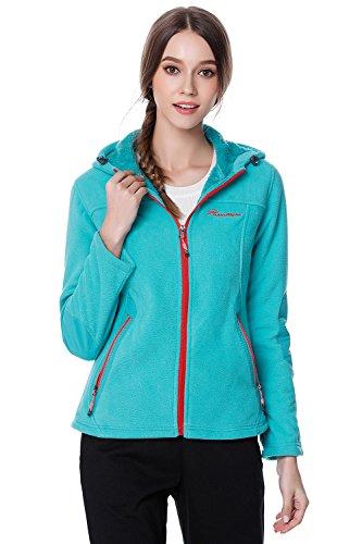 OutdoorMaster Women's Full-Zip Fleece Jacket - Stain Repellent, Ultra Soft Plush Lining & Optional Hoodie (Blue Hoodie,XL)