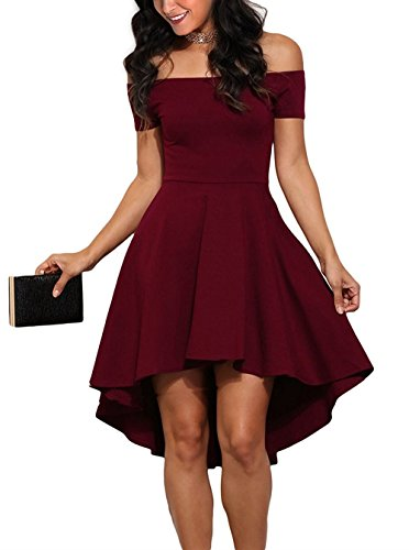 Mypuffgirl Women's Off The Shoulder Casual Skater Cocktail Party Dress High Low Skirt-Burgundy Size L