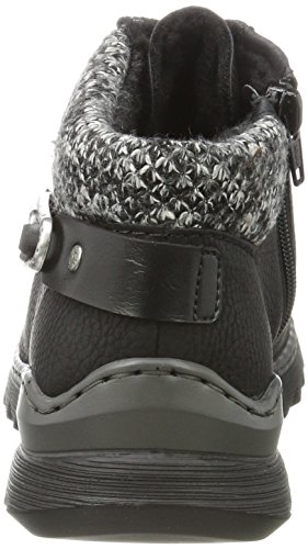 Schwarz Schwarz Negro para Rieker Zapatillas Schwarz Grey Altas Mujer M6238 xqAgO60F