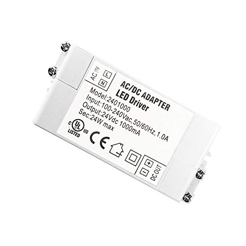 - YAYZA! 1-Pack Premium IP44 24V 1A 24W Low Voltage LED Driver Transformer AC DC Switching Power Supply