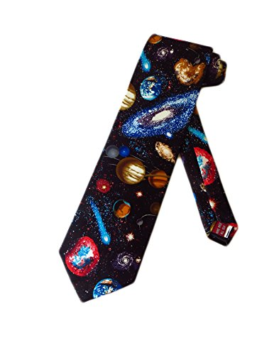 Museum Artifacts Mens Astronomy Solar System Necktie - Black - One Size Neck Tie (Nasa Museum Space)