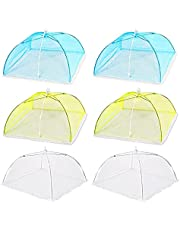 QSDGFH 6Pcs Colored Food Cover Mesh Food Tent,Food Covers,White Nylon Covers,Reusable and Collapsible Outdoor Picnic Food Covers Mesh, Food Cover Net Keep Out Flies, Bugs, Mosquitoes