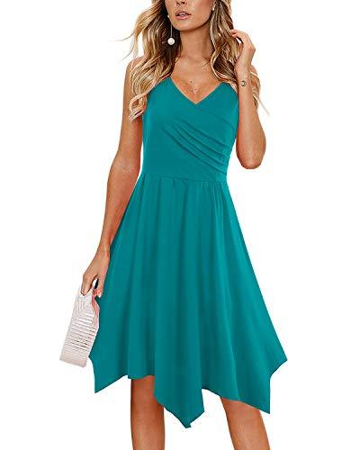 (Party Dresses for Women,Women's Summer Casual Cross V Neck Sleeveless Asymmetrical Handkerchief Hem Midi Dress Blue)