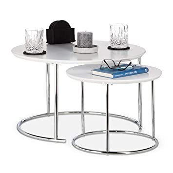 Table De Salon Gigogne.Relaxdays Table Gigogne Set De 2 Table De Salon Petite Ronde Mate Table Basse Bois Metal Chrome 60x60 Cm Blanc