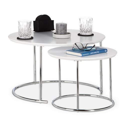 Relaxdays rund, Kleiner Couchtisch matt, Satztisch Holz und Metall, verchromt Beistelltisch 2er Set, Holzdekor, Weiß, 60 x 60 x 35 cm