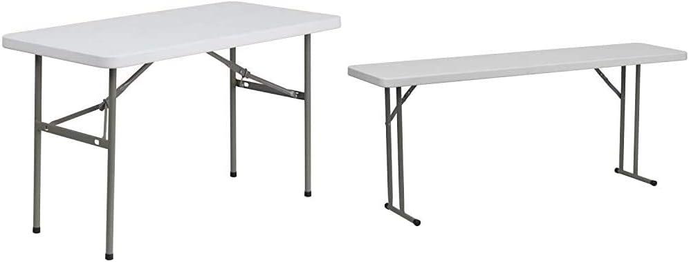 Flash Furniture 24x48 Plastic Fold Table Chair, 4 Foot, Granite White & Furniture 6-Foot Granite White Plastic Folding Training Table