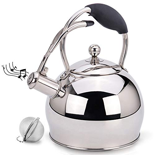 Tea Kettle Best 3 Quart induction Modern Stainless Steel Surgical Whistling Teapot -Tea Pot For Stove Top (3L, ()
