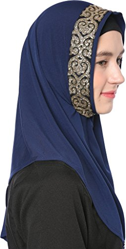 Ababalaya Women's Muslim Glitter Sequins Solid Jersey Headscarf Instant Hijab Ready to Wear Hijab,Navy Blue by Ababalaya (Image #3)