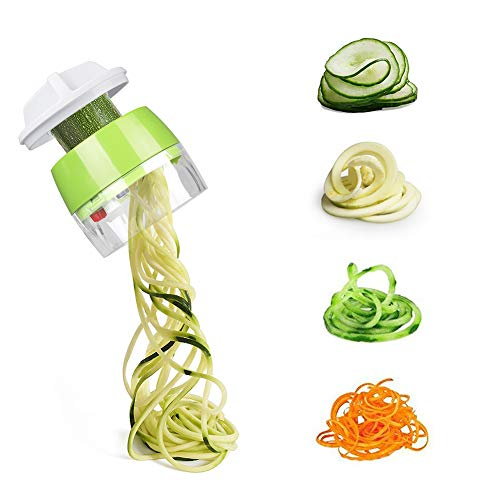 MFTEK Spiralizer Vegetable Slicer, 4 in 1 Handheld Spiral Slicer Cutter Veggie Pasta Spaghetti Maker for Vegetable, Fruit, Carrots, Zucchini, Cucumber
