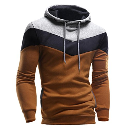 Men's Sweater,Neartime Retro Winter Hoodie Men Hooded Sweatshirt Jacket Coat Outerwear (XXL, Coffee)