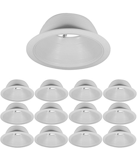 6 inch Recessed Can Light Trim - White Metal Step Baffle for 6