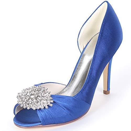 Peep Plataforma Satén Espumosa De 9cm Zapatos High Blue yc Boda Satin Toe Heels L Las Low Mujeres Rhinestones fY8qvw0x