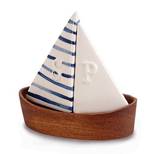 Mud Pie 4505009 Nautical Sailboat Salt and Pepper Shaker Set, Blue/White