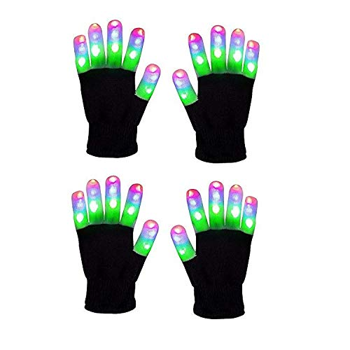 Light Gloves - (2 Pairs) - Pair LED Finger Light Gloves Warm, Flashing LED Light Up Gloves and 6 Different Modes for Light Up Glove Kids, Gifts Ideas and LED Gloves Kids