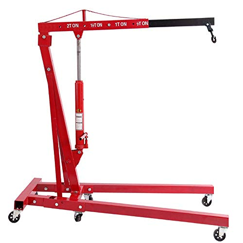 WarmieHomy 2 Ton Foldable Engine Crane Stand Cherry Picker Workshop Garage Hydraulic Engine Hoist Lift Jack Crane wih Wheels (Red)