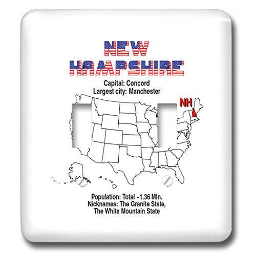 3dRose Alexis Design - American States - New Hampshire state of the USA, American map, facts, useful info - Light Switch Covers - double toggle switch ()