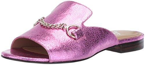(The Fix Women's Nikole Open Toe Slide with Chain Detail Flat Sandal, Bubble Gum Pink/Metallic Crackle Leather, 8.5 B US)