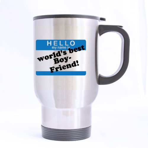 14oz Romantic Valentine's Day Gift - Blue Pattern Hello My Name Is World's Best Boyfriend Best Choice (Sliver) Mug Stainless Steel Travel Mugs