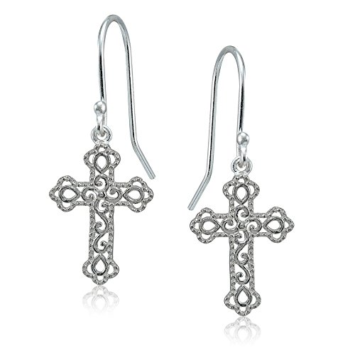 Sterling Silver High Polished Filigree Cross Bottony Dangle Earrings Filigree Cross