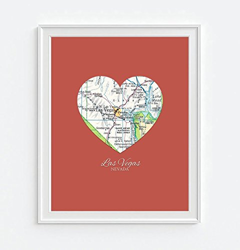 Las Vegas Nevada Vintage Heart Map Art Print, UNFRAMED, Customized Colors, Wedding gift, Christmas gift, Engagement Anniversary Valentines day Housewarming Guestbook gift, ALL SIZES