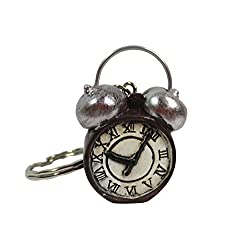 Vintage Design 3D Mini Twin Bell Alarm Clock Charm Keychain