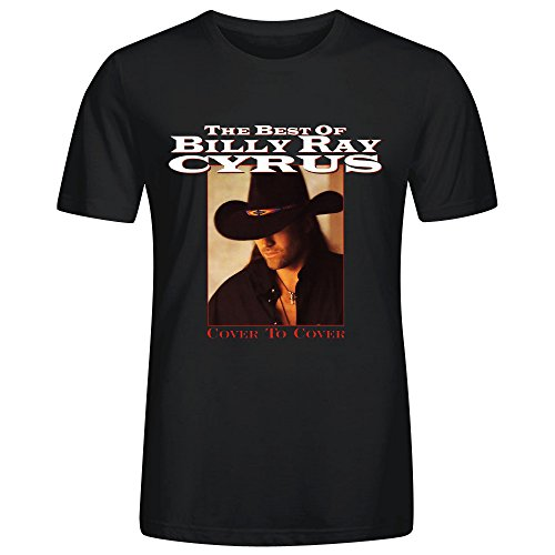 The Best Of Billy Ray Cyrus Cover To Cover Men's CrewNeck Classic T Shirts Black (Cyrus Ray Billy T-shirt)