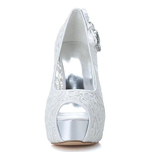 De Sandals 19 Peep high Hauts amp; shoes F3128 Pour automne Party Blanc Elegant Chaussures Talons ÉTé Mariage Femmes Mariage Printemps Strass Toe 8tPqwz