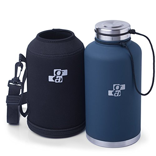 [Upgraded] Beer Growler 64 oz - Thermos Water Bottle - Insulated Stainless Steel Vacuum Water Jug Dark Blue for HOT and COLD Beverages - Black Neoprene Growler Carrier