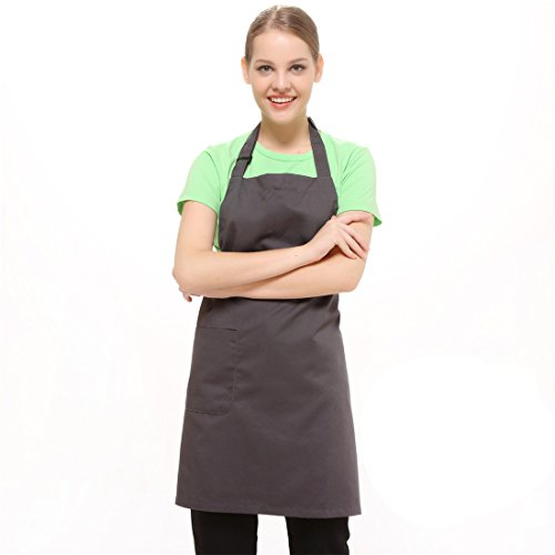 [Korean grey kitchen cooking bib adjustable apron with pocket for women girls and men waiter waitress kitchen restaurant] (Starbucks Waiter Costume)