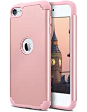 Dailylux iPod Touch 6 Case,iPod Touch 5 Cases,iPod Touch 7 Case,Slim Dual Layer Protective Case for Girls Boys Hybrid Hard Back Cover Soft Silicone for Apple iPod Touch 5/6/7th Generation -Rose Gold