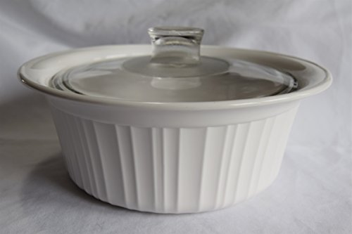 """Vintage Corning Ware FRENCH WHITE pattern 8"""" inch ROUND SOUFFLE BAKING DISH WITH FLARED RIM 1.9 LITRE / 2 QT PYROCERAM GLASS – smooth bottom ALL WHITE CASSEROLE w/PYREX CLEAR GLASS LID MADE IN USA"""
