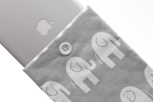Kuzy - #37 Elephant GRAY/WHITE Handmade Cotton Sleeve Cover 13-Inch for Macbook PRO 13-Inch (fits MacBook with or w/out Retina Display) and MacBook Air 13-Inch and White MacBook ()