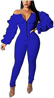 Women Casual Long Sleeve Zipper Front Bodycon Long Jumpsuit Romper