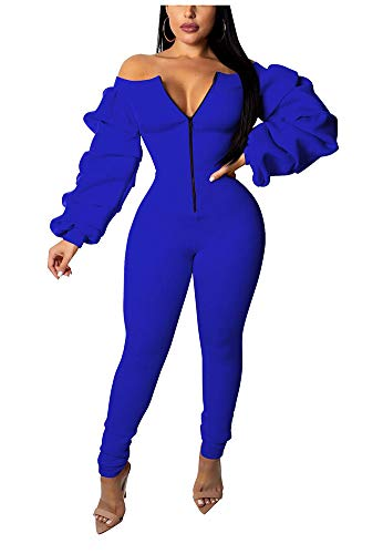 PrettySoul Womens Elegant Solid Jumpsuit Off Shoulder Long Puff Sleeve Casual Strapless Zipper Front Skinny Slim Long Jumpsuits Rompers Blue, XX-Large