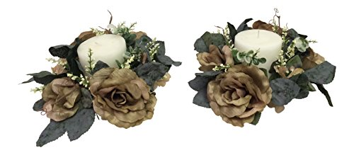 - Wholesale Silk Floral Antiqued Victorian Candle Ring (Set of 2) Accessories, 3-in, Sage, 2 Piece