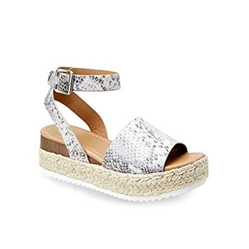 Liyuandian Womens Platform Espadrille Wedges Open Toe High Heel Sandals with Ankle Strap Buckle Up Shoes (9 M US, D Snake)
