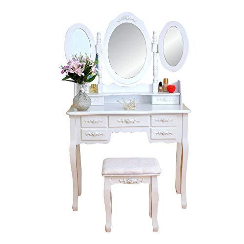 Tri-Folding Mirror Dressing Table Set 7 Flower