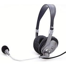 Ewent Cuffie con Microfono, Controllo Volume per Skype, MSN, Voipbuster, Yahoo, GoogleTalk, Nero