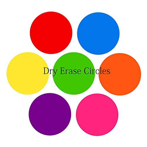 Dry Erase Table Spots for Teachers - 7 Pack Multicolor dry erase Circles, Wall Stickers, Decals, Dot Circle Set Dry Erase Sticker,- Perfect with Markers on Students' Desks - Dry Erase Marker Completel