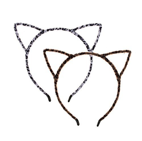 Love Sweety Plush Cat Ear Headband Cute Halloween Costume Holiday Party (Brown White)