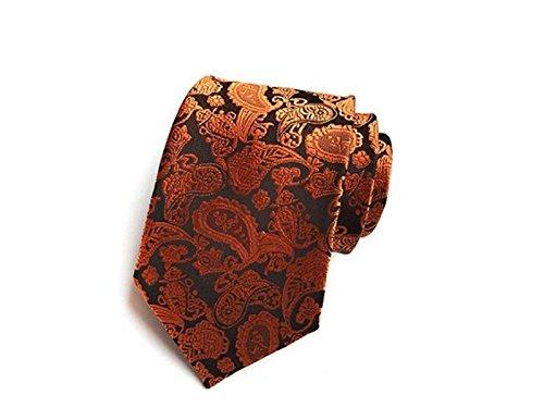 and Occasion Party Orange Fashionable Formal for Necktie Casual Wedding Kxrzu Men's Jacquard 8xAv7xY