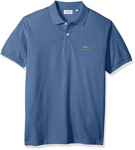 Lacoste Men's Short Sleeve Pique Classic Fit Chine Polo Shirt, L1264, Neptune Blue Chine, 6 (Mens Lacoste Pique Polo)