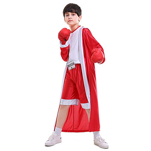 Kids Boys Boxing Costume Red Blue Boxer Cosplay with Boxing Gloves Robe Halloween Party Dress Decoration Role Playing Uniform Carnival (Red, S) -