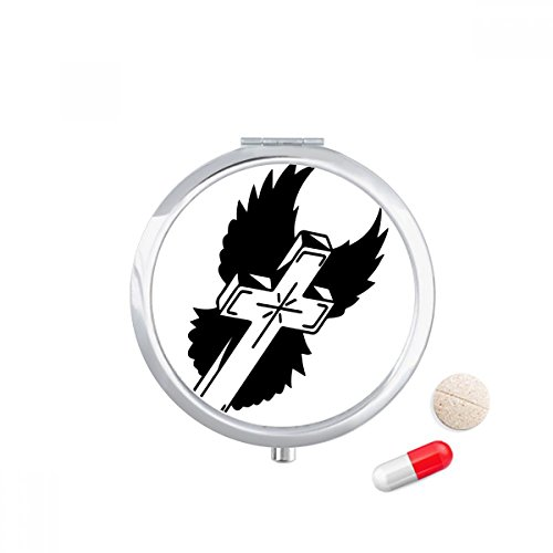 Religion Christianity Church Cross Wings Travel Pocket Pill case Medicine Drug Storage Box Dispenser Mirror Gift by DIYthinker