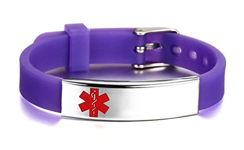 JF.JEWELRY Medical ID Alert Bracelet for Women Silicone Band & Stainless Steel Tag Custom Engraved-Purple (Asthma Medical Alert Bracelet)